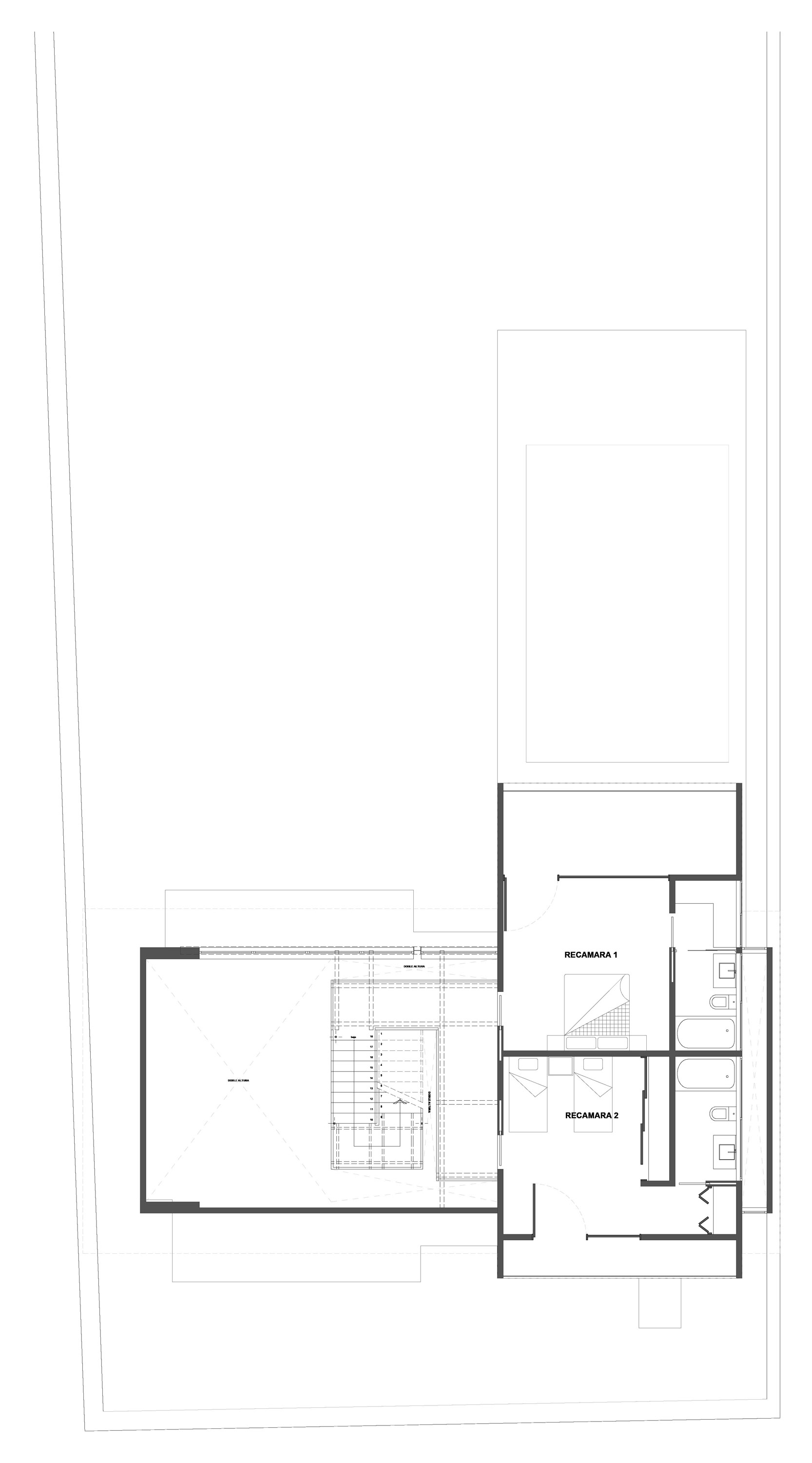 Second Floor Plan, Weekend Retreat in Cuernavaca, Mexico