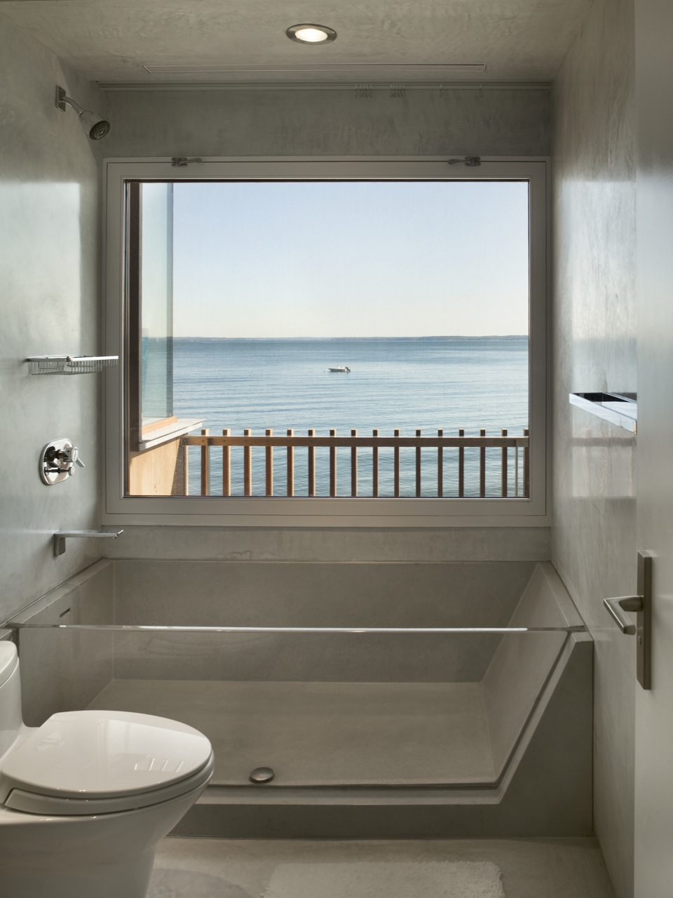 See-Through Bath, Bathroom, Ocean Views, Oceanfront Residence in Connecticut