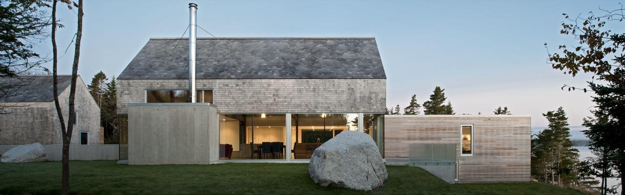Side Façade, Boulder, House in Prospect, Nova Scotia