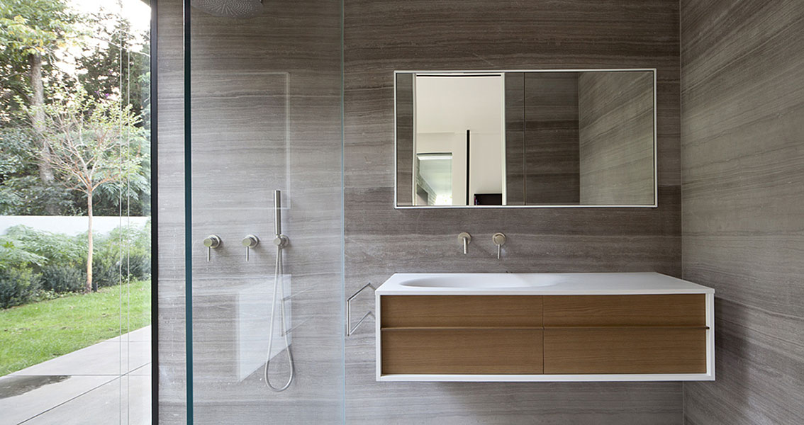 Sink, Mirror, Glass Shower, Float House in Tel Aviv, Israel
