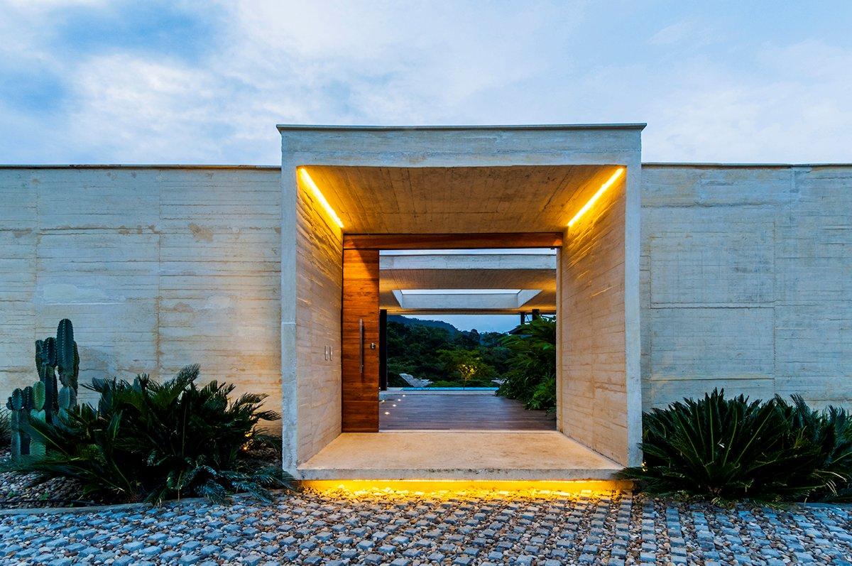 Sliding Wooden Entrance Door, Lighting, House in Villeta, Colombia