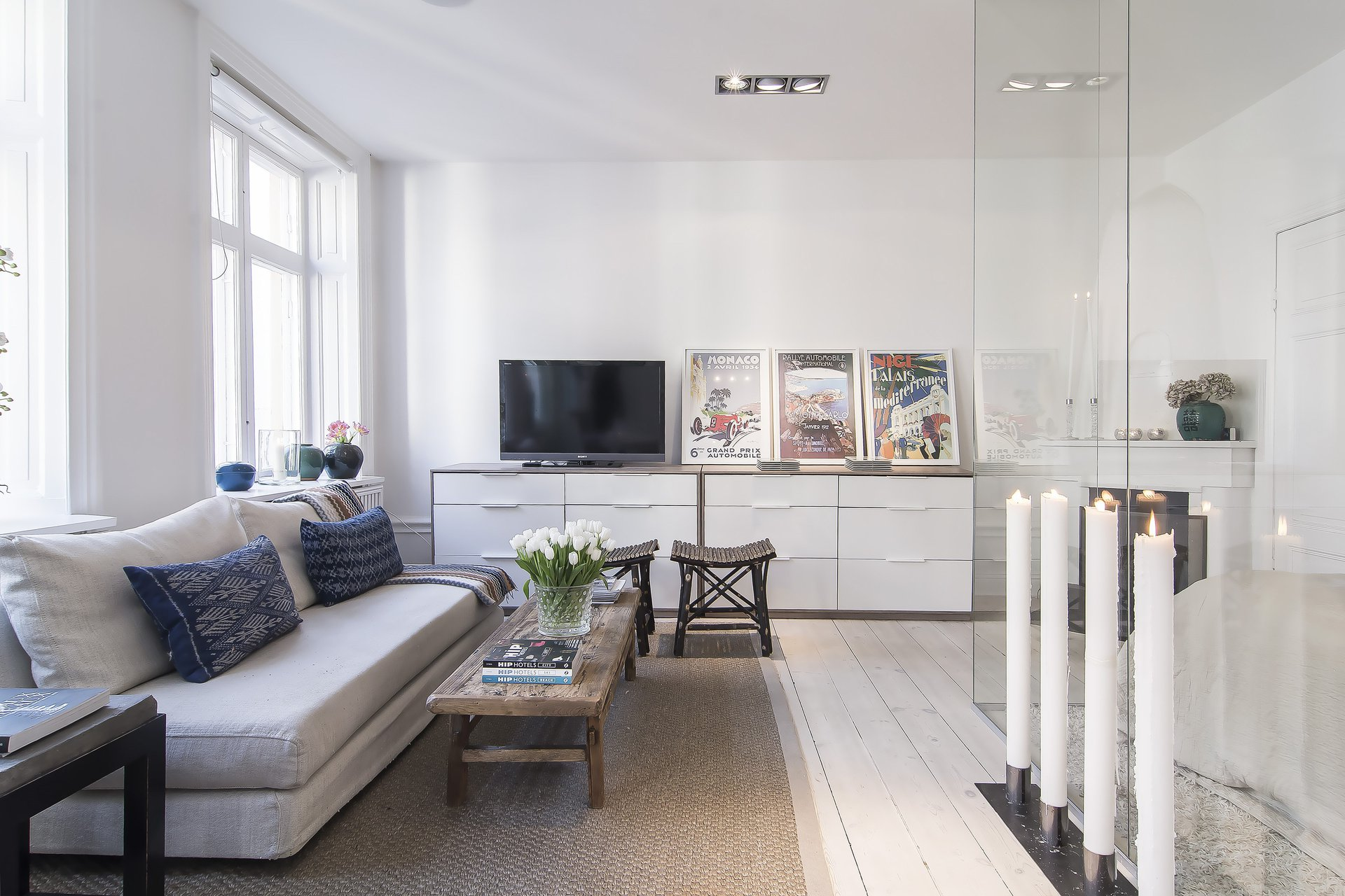 Sofa, Coffee Table, Rug, Art, Large Candles, Apartment in Östermalm, Stockholm