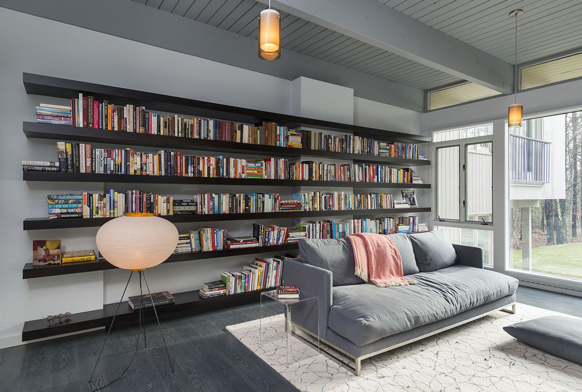 Sofa, Lighting, Living Room, Book Shelve, Mid-Century Modern House in Lincoln