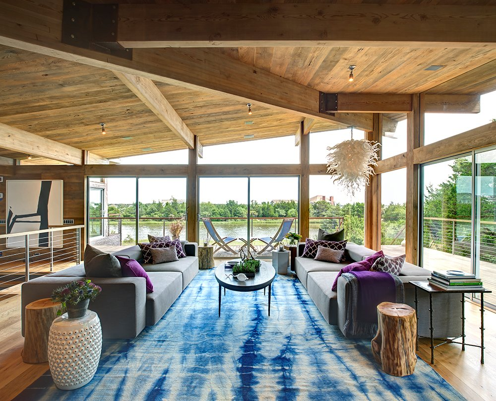 Sofas, Coffee Table, Lighting, Rug, Floor-to-Ceiling Windows, Home Addition, Southampton, New York