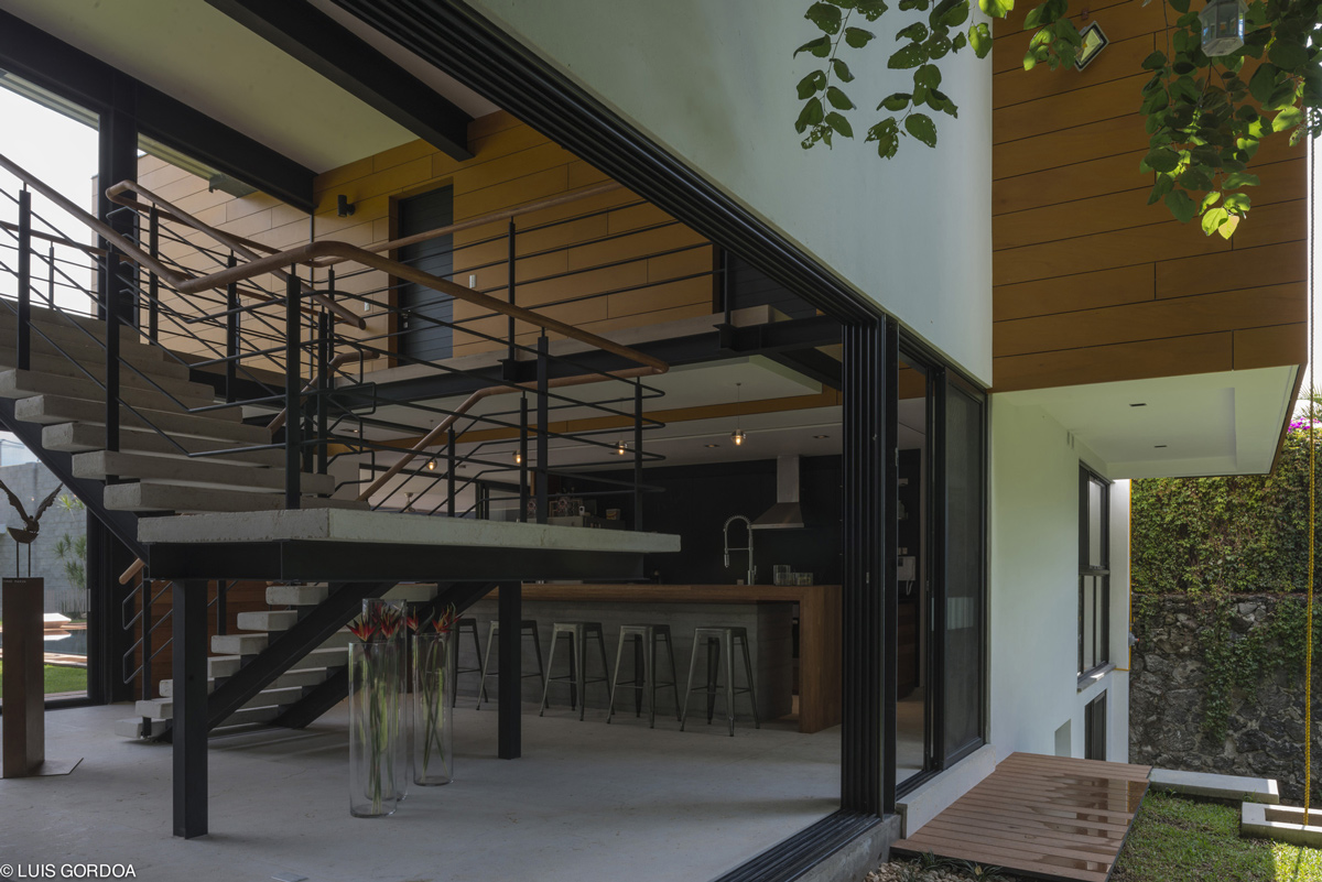 Stairs, Glass Sliding Doors, Weekend Retreat in Cuernavaca, Mexico