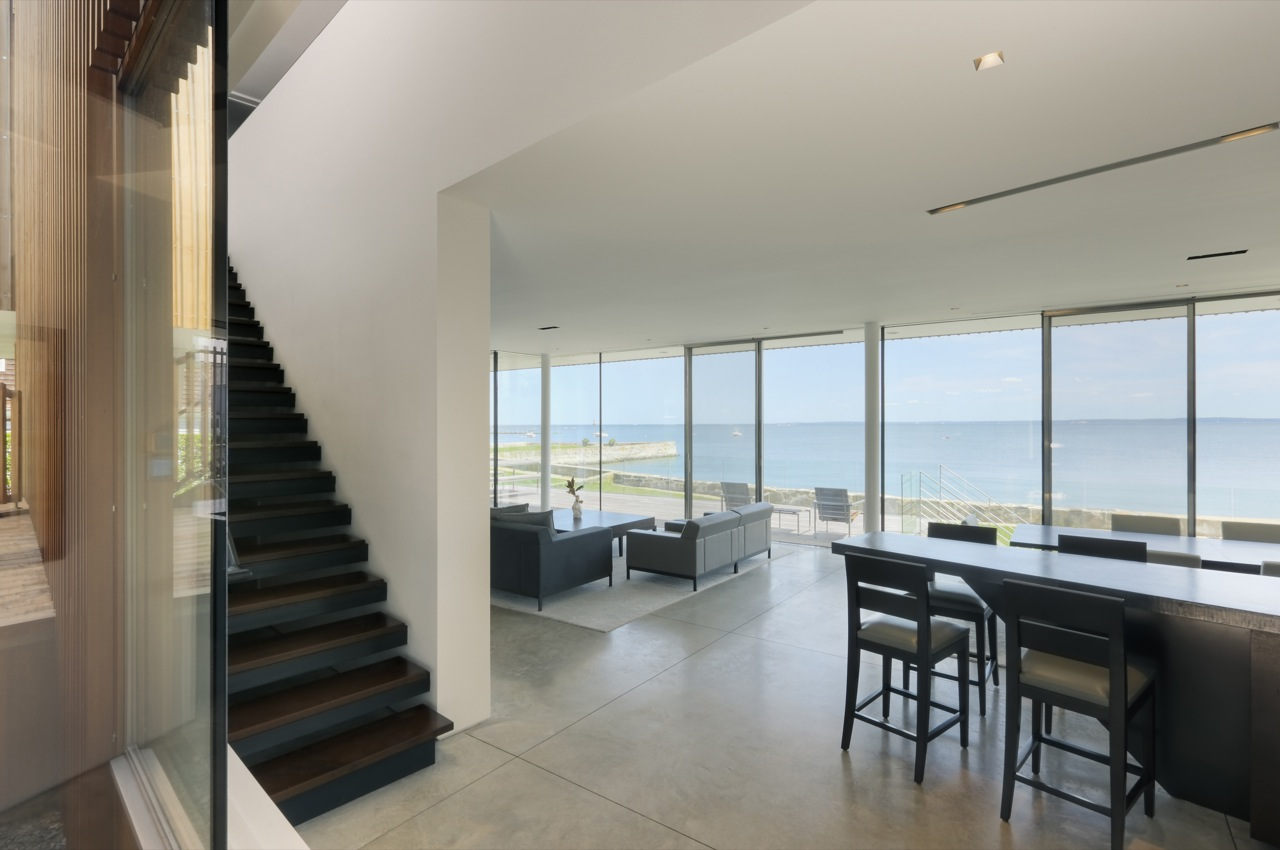 Stairs, Open Plan Living, Glass Sliding Doors, Water Views, Oceanfront Residence in Connecticut