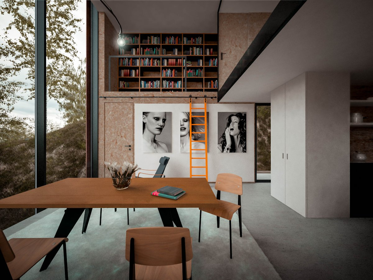 Table, Book Shelves, Cantilevered Home in Pontypridd, Wales