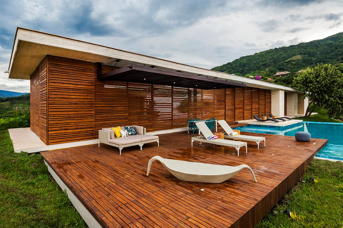 Teak Deck, Terrace, Pool, House in Villeta, Colombia