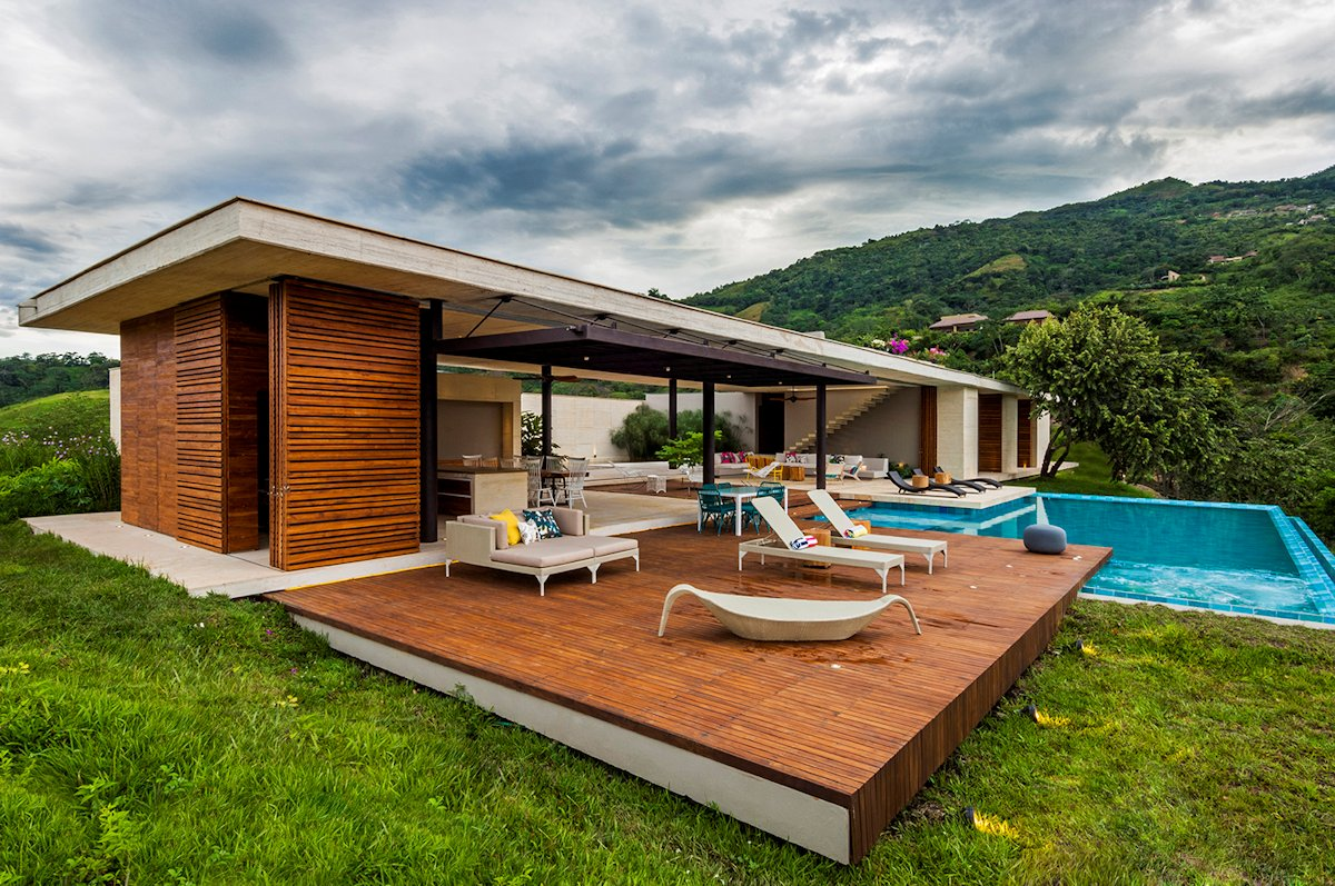 Terrace, Outdoor Furniture, Pool, House in Villeta, Colombia