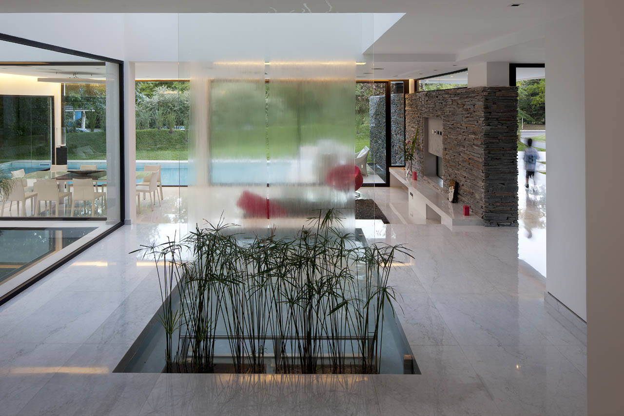 Waterfall, Indoor Water Feature, Modern House in Pilar, Buenos Aires
