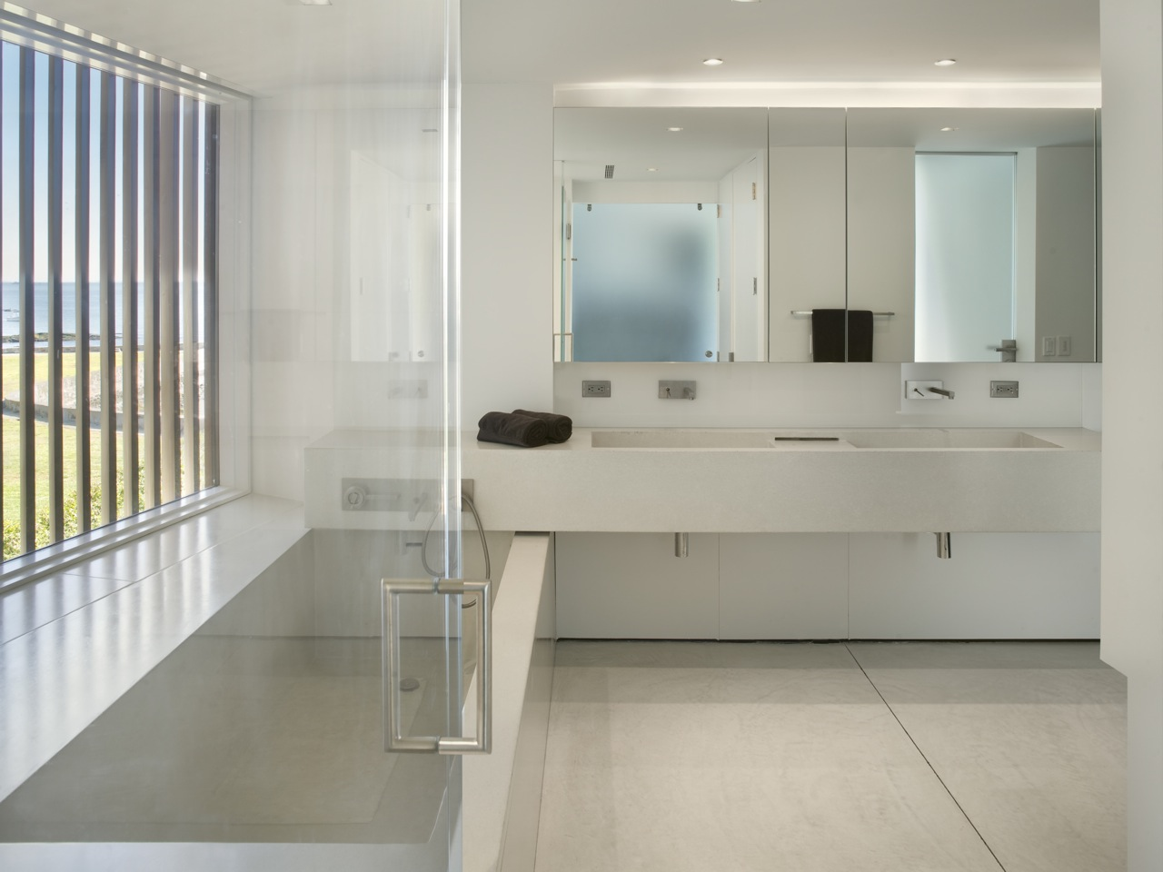 White Bathroom, Oceanfront Residence in Connecticut