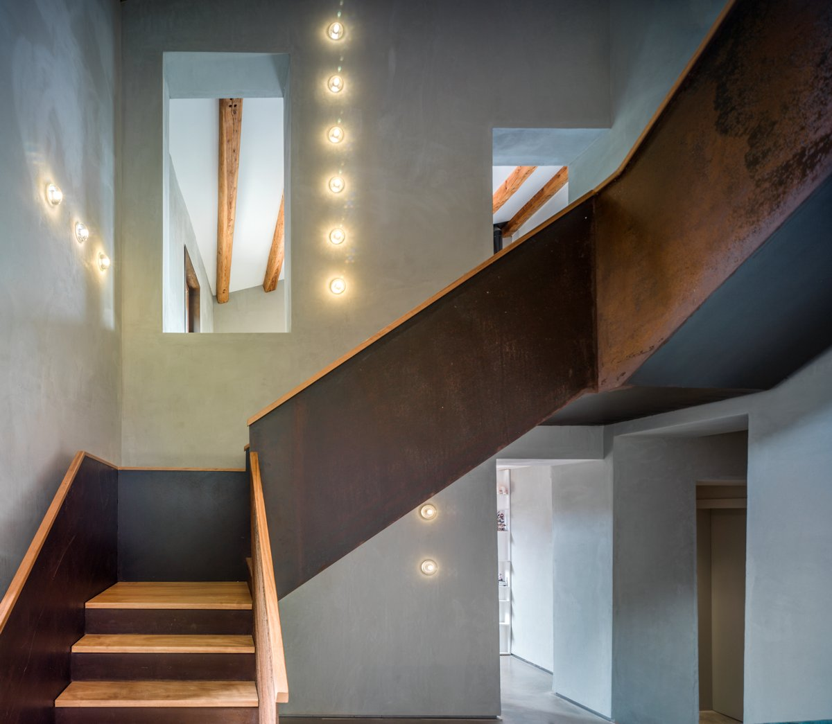 Wood & Metal Stairs, Lighting, Catalan Farmhouse, Girona, Spain