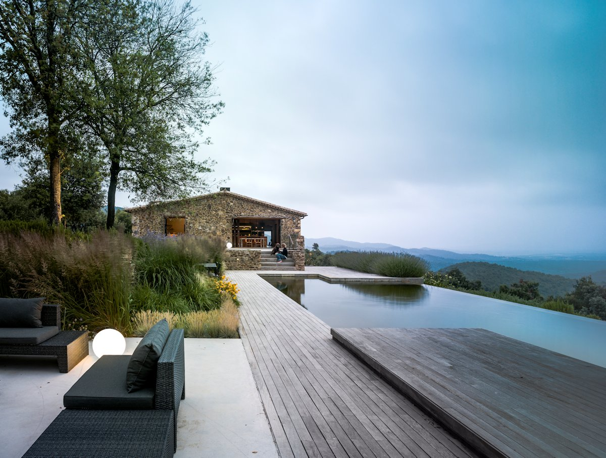 Wood Terrace, Deck, Infinity Natural Pool, Outdoor Furniture, Catalan Farmhouse, Girona, Spain
