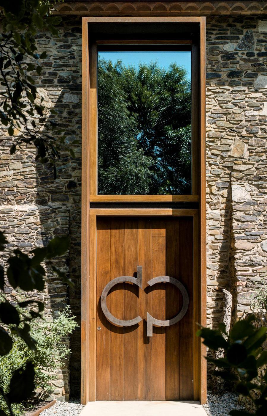 Wooden Front Door, Entrance, Catalan Farmhouse, Girona, Spain