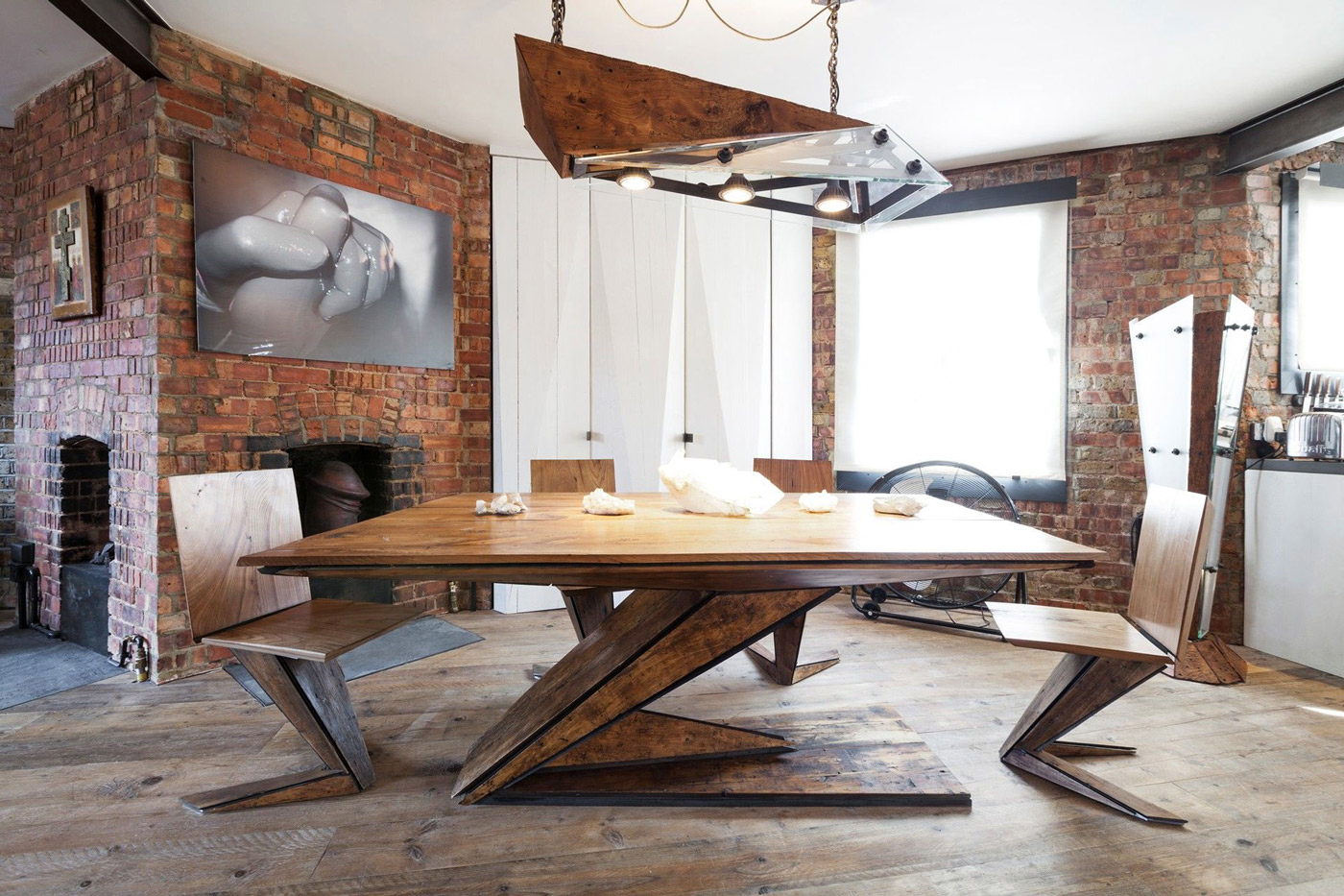 Art, Wooden Lighting, Dining Table, Wooden Flooring, Brick Walls, Archer Street Apartment in London, England