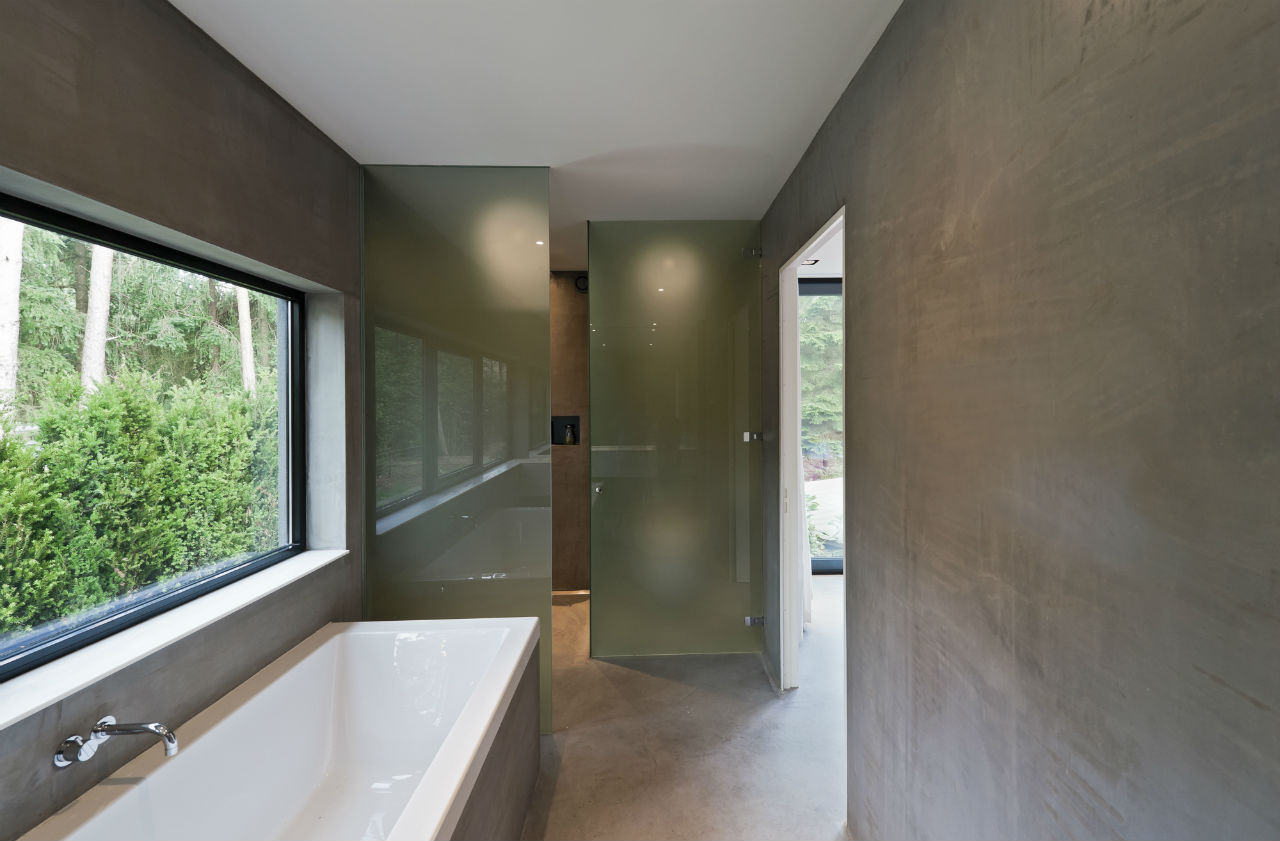 Bathroom, Glass Shower Walls, Modern Villa in Hattem, The Netherlands