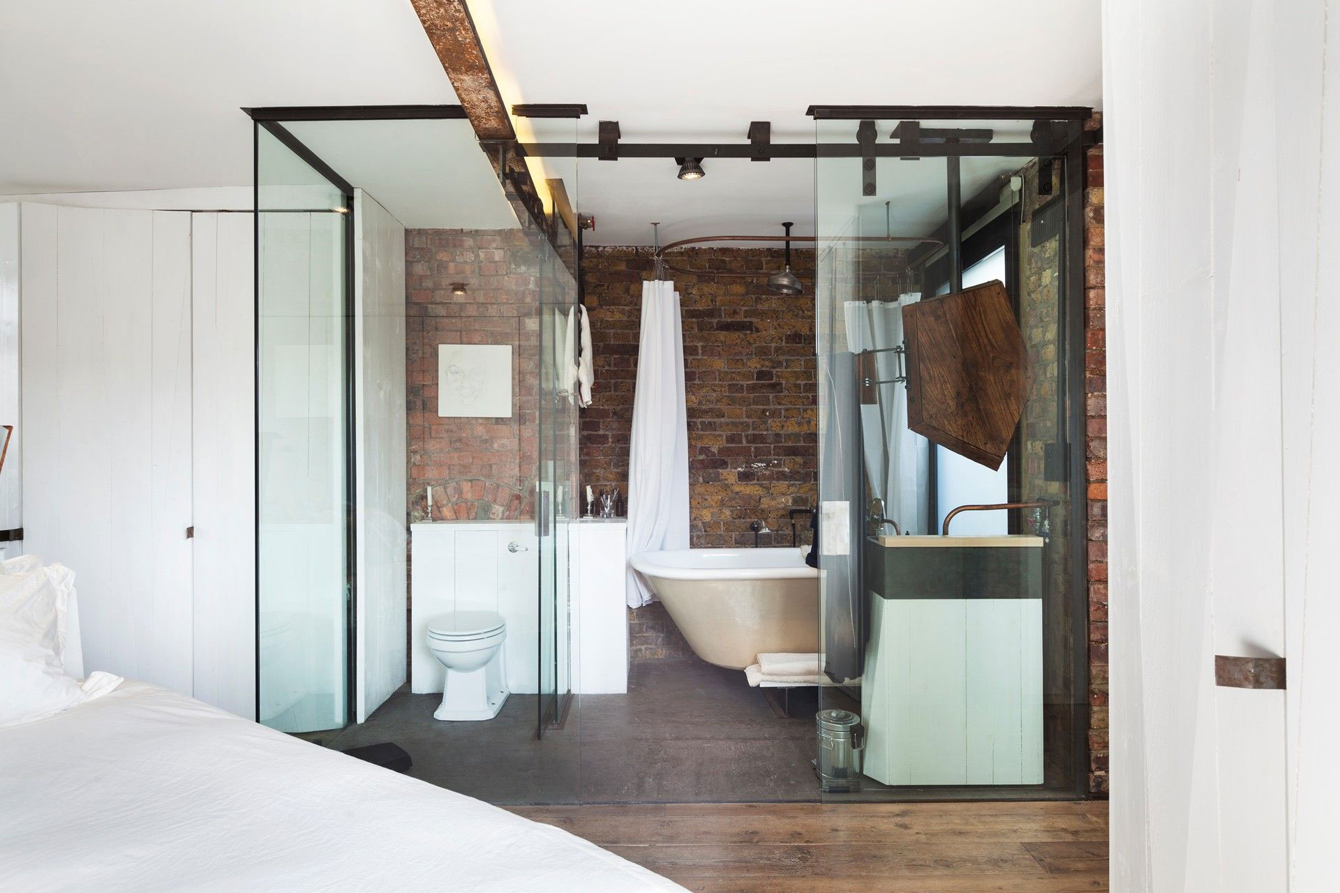Bathroom, Glass Walls, Archer Street Apartment in London, England