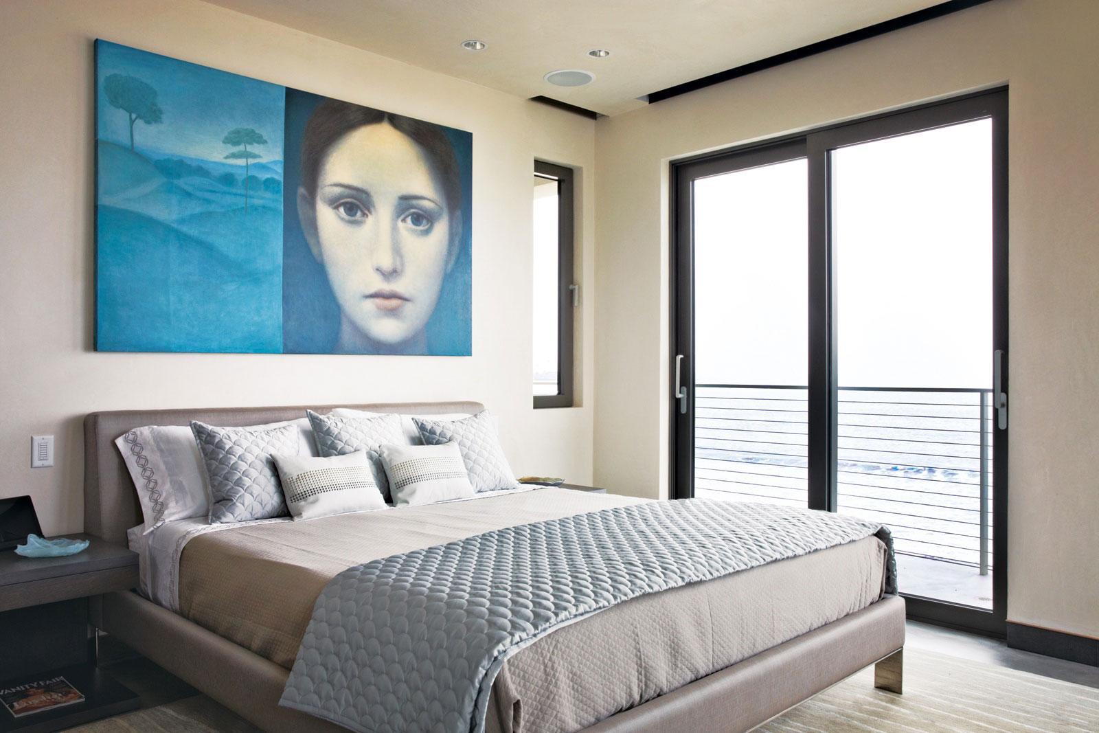 Bedroom, Art, Glass Sliding Doors, Balcony, Eco-Friendly Beach House in California