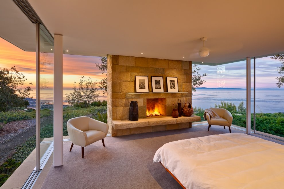 Bedroom, Fireplace, Floor-to-Ceiling Windows, Ocean Views, Hilltop Home in Carpinteria, California