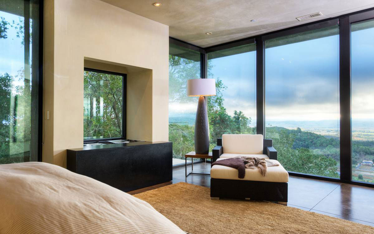Bedroom, Floor-to-Ceiling Windows, Valley Views, Home in the Sonoma Valley, California