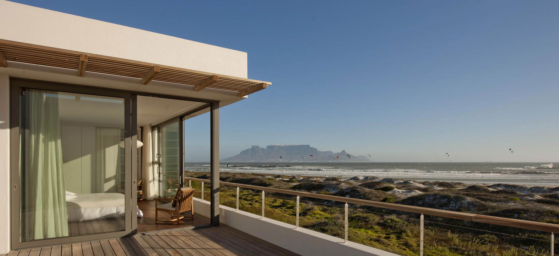 Bedroom, Roof Terrace, Patio Doors, Ocean Views, Beach Front Home in Cape Town, South Africa