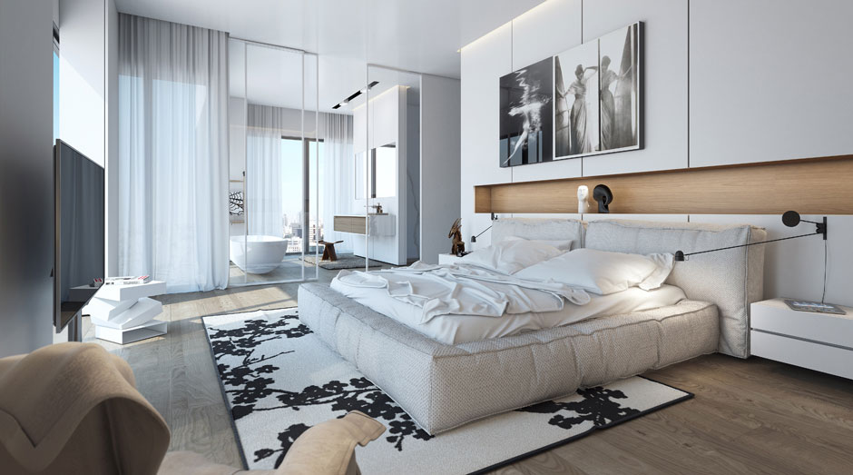 Bedroom, Rug, Bathroom, Glass Walls, Apartment in the W Boutique Tower, Tel Aviv