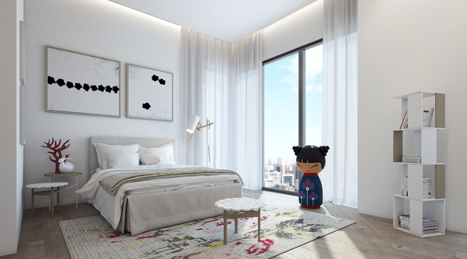 Bedroom, Rug, Apartment in the W Boutique Tower, Tel Aviv