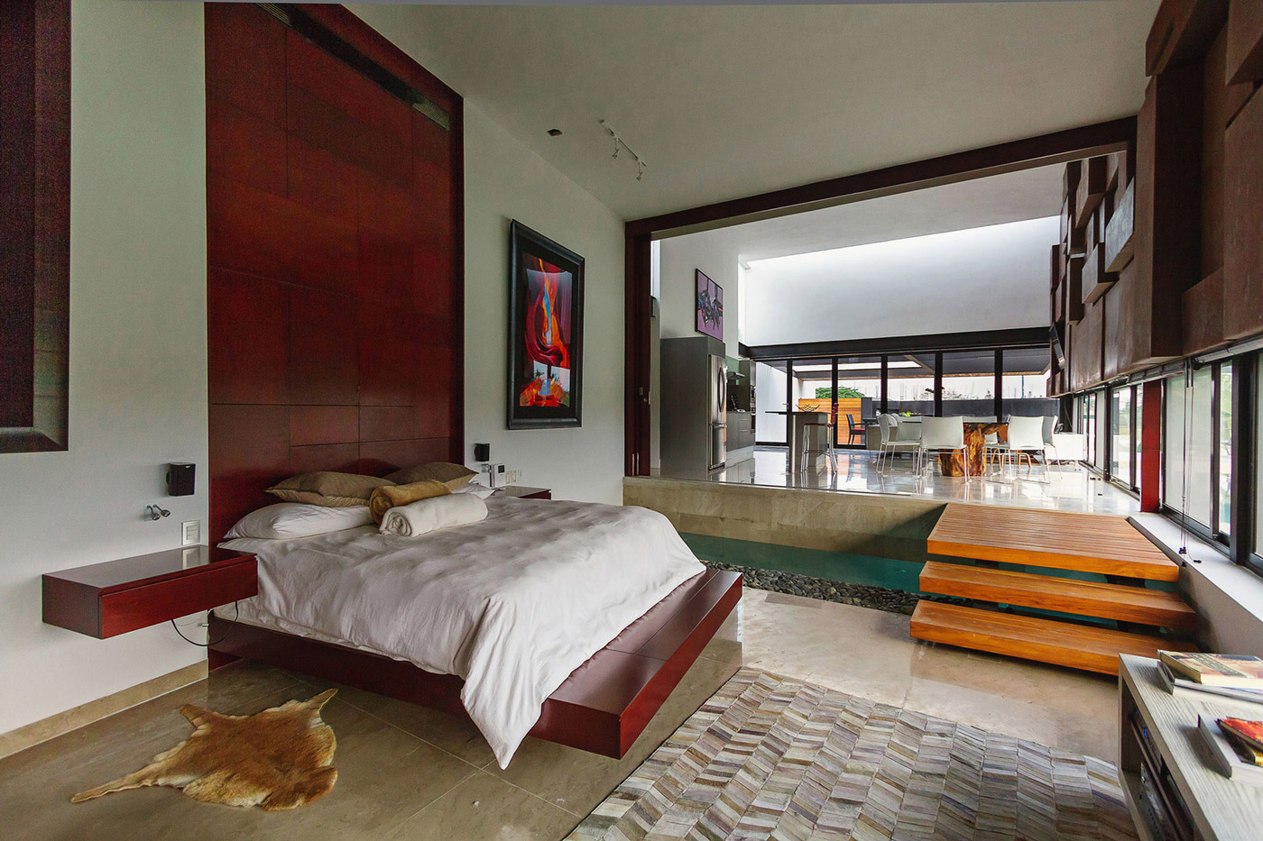 Bedroom, Sliding Door, Living Space, Contemporary Residence in Merida, Yucatan