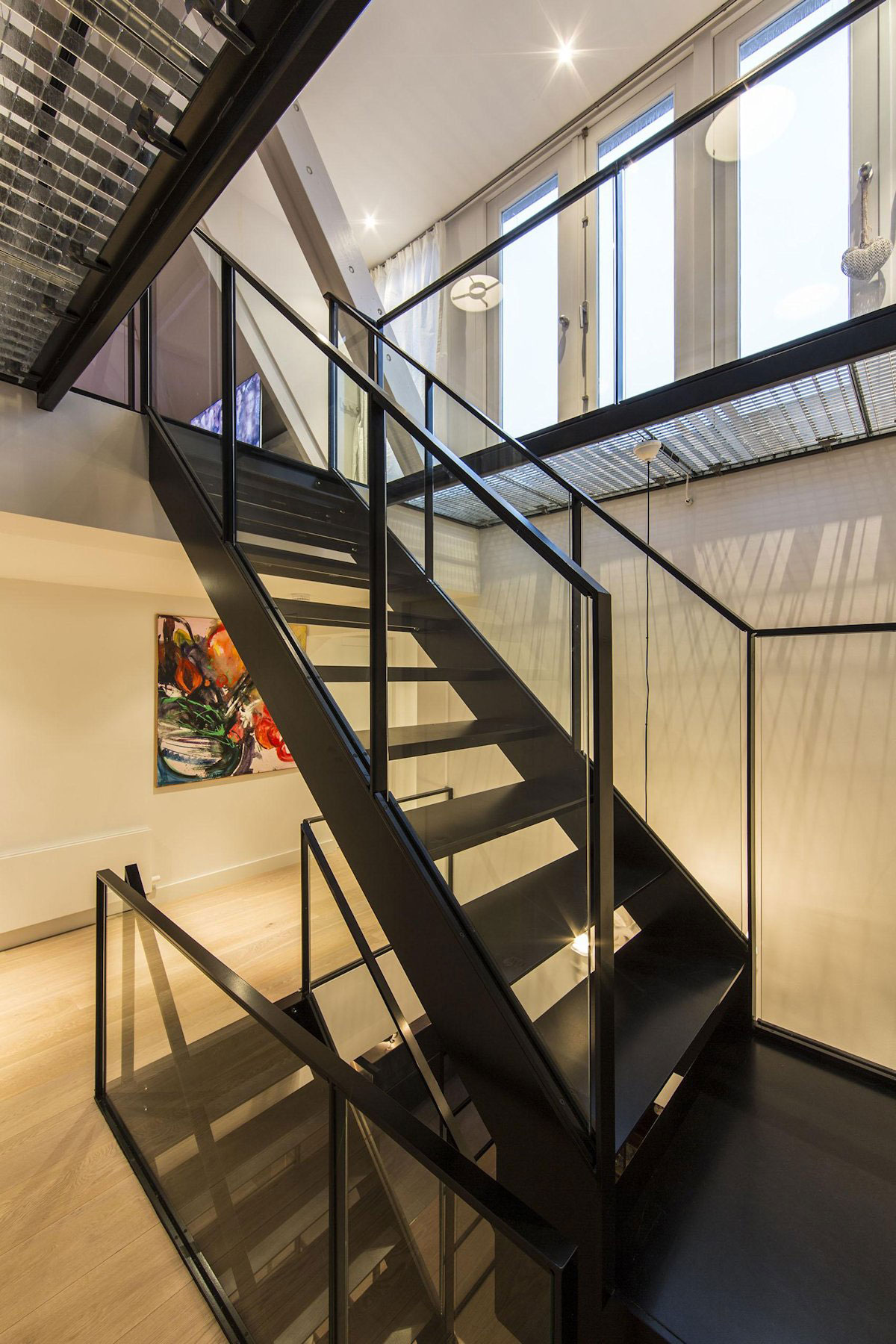 Black Glass Stairs Apartment In Amsterdam