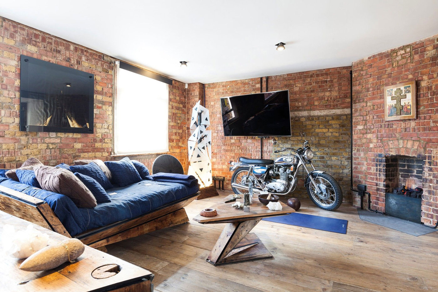 Brick Walls, Living Room, Wooden Sofa, Coffee Table, Fireplace, Archer  Street