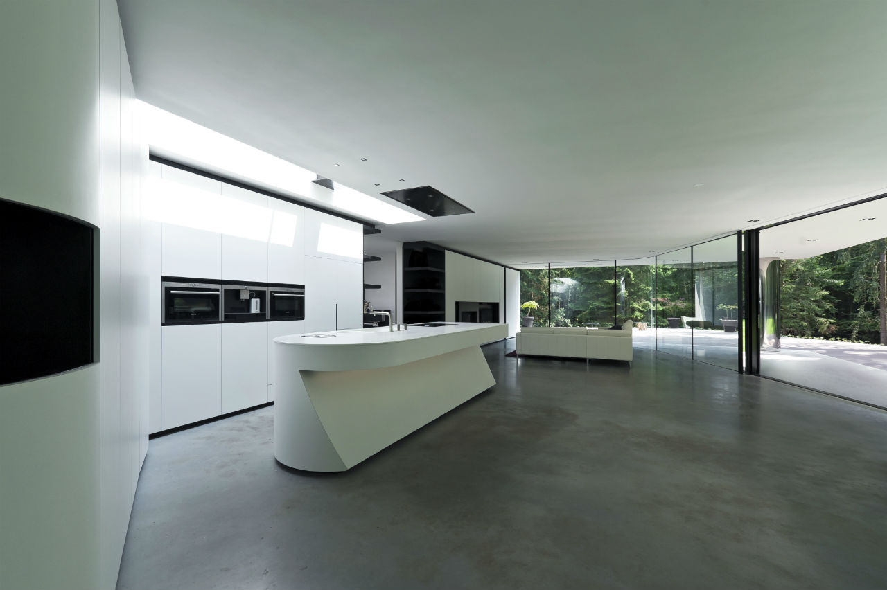 Bright White Kitchen Units, Glass Walls, Modern Villa in Hattem, The Netherlands