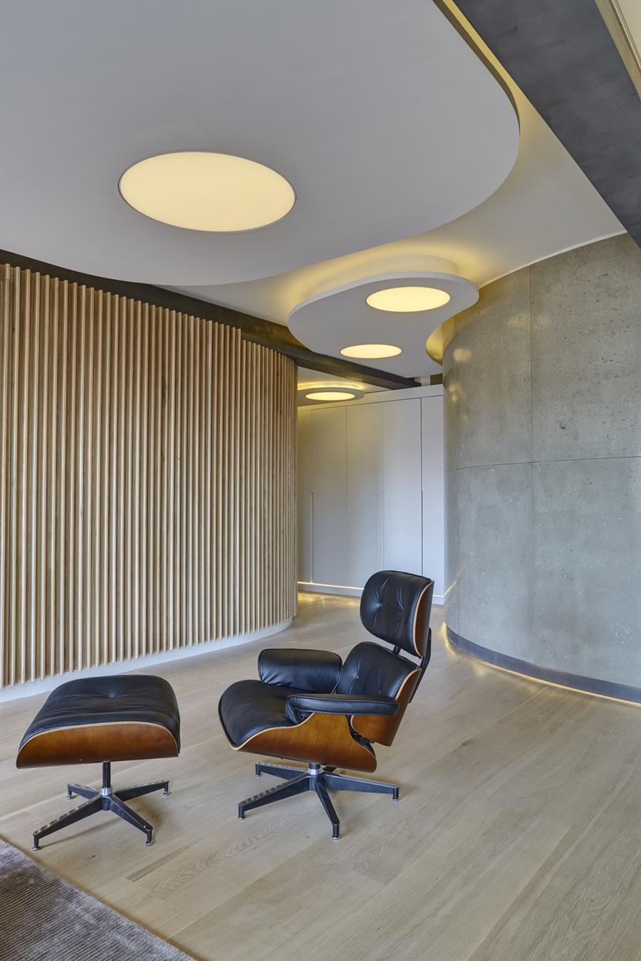 Chair, Lighting, Oak & Concrete Walls, Warehouse Style Apartment in Shoreditch, London
