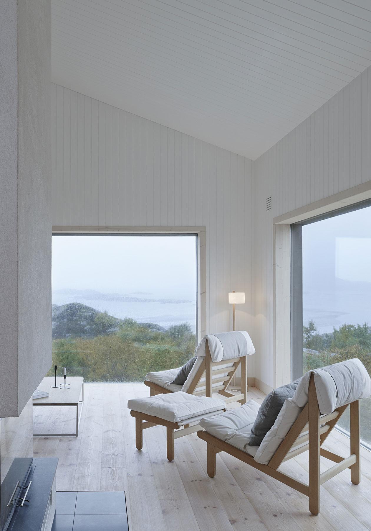 Chairs, Wood Floor, Large Windows, Vega Cottage in Vega, Norway