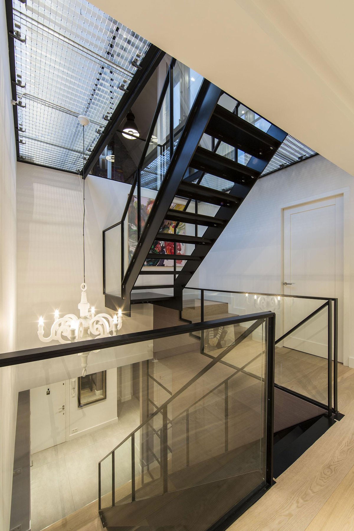 Chandelier, Stairs, Apartment in Amsterdam