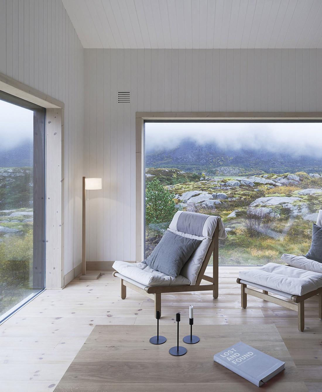Coffee Table, Chairs, Lamp, Large Windows, Vega Cottage in Vega, Norway
