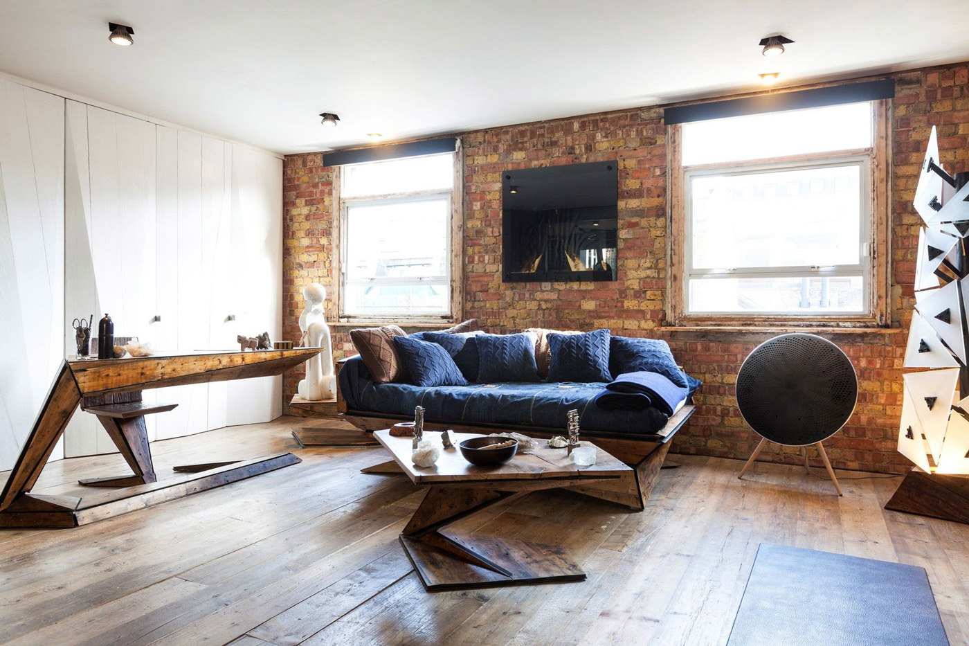 Coffee Table, Sofa, Wood Desk, Art, Archer Street Apartment in London, England