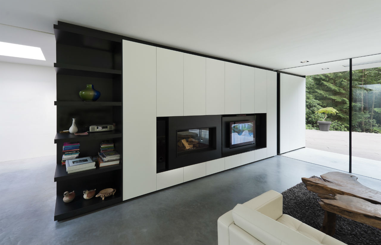 Contemporary Fireplace, Living Space, Shelving, Modern Villa in Hattem, The Netherlands