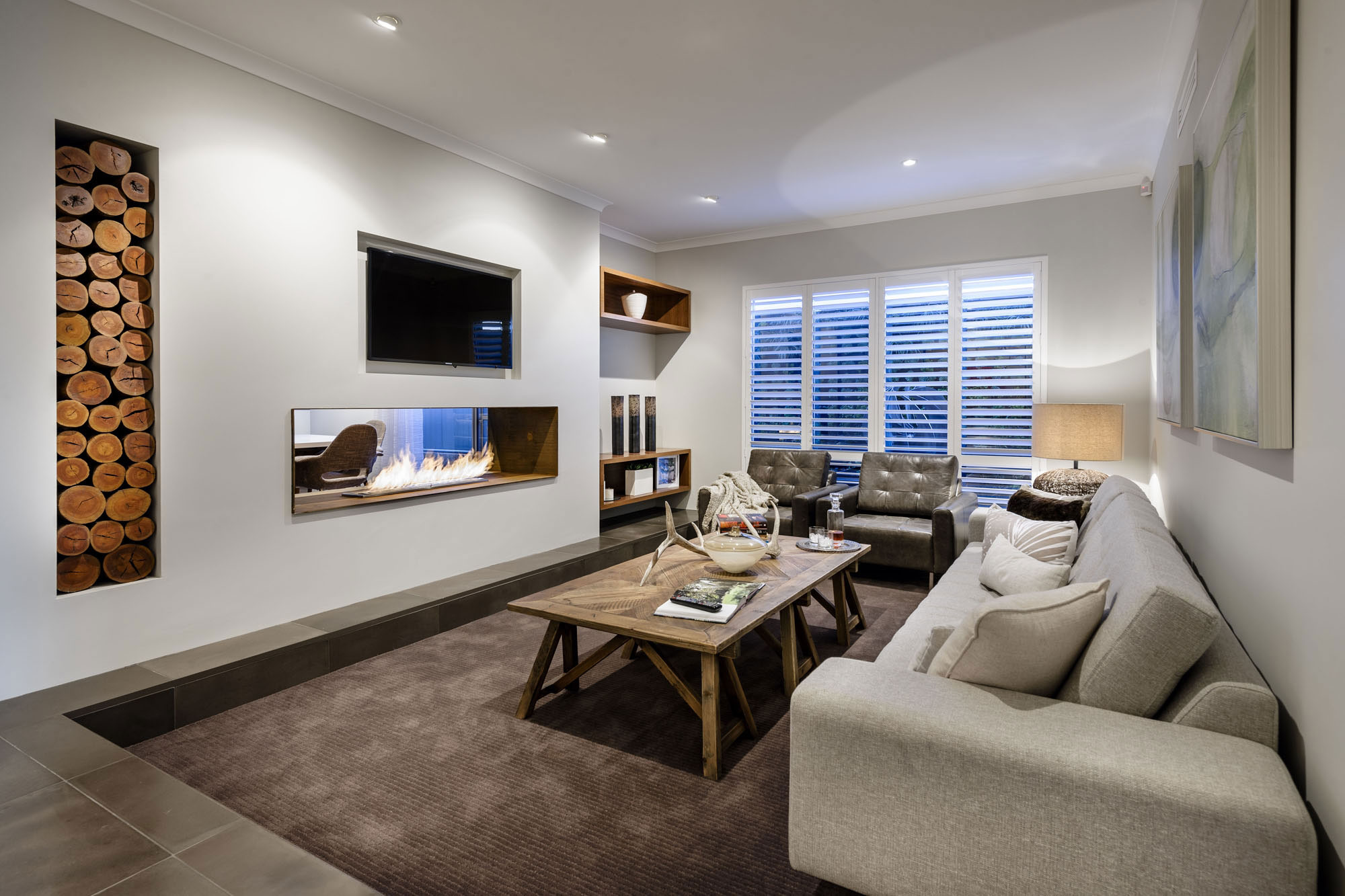 Contemporary Fireplace, Wood Store, Sofa, Rug, Modern Home in Wandi, Perth