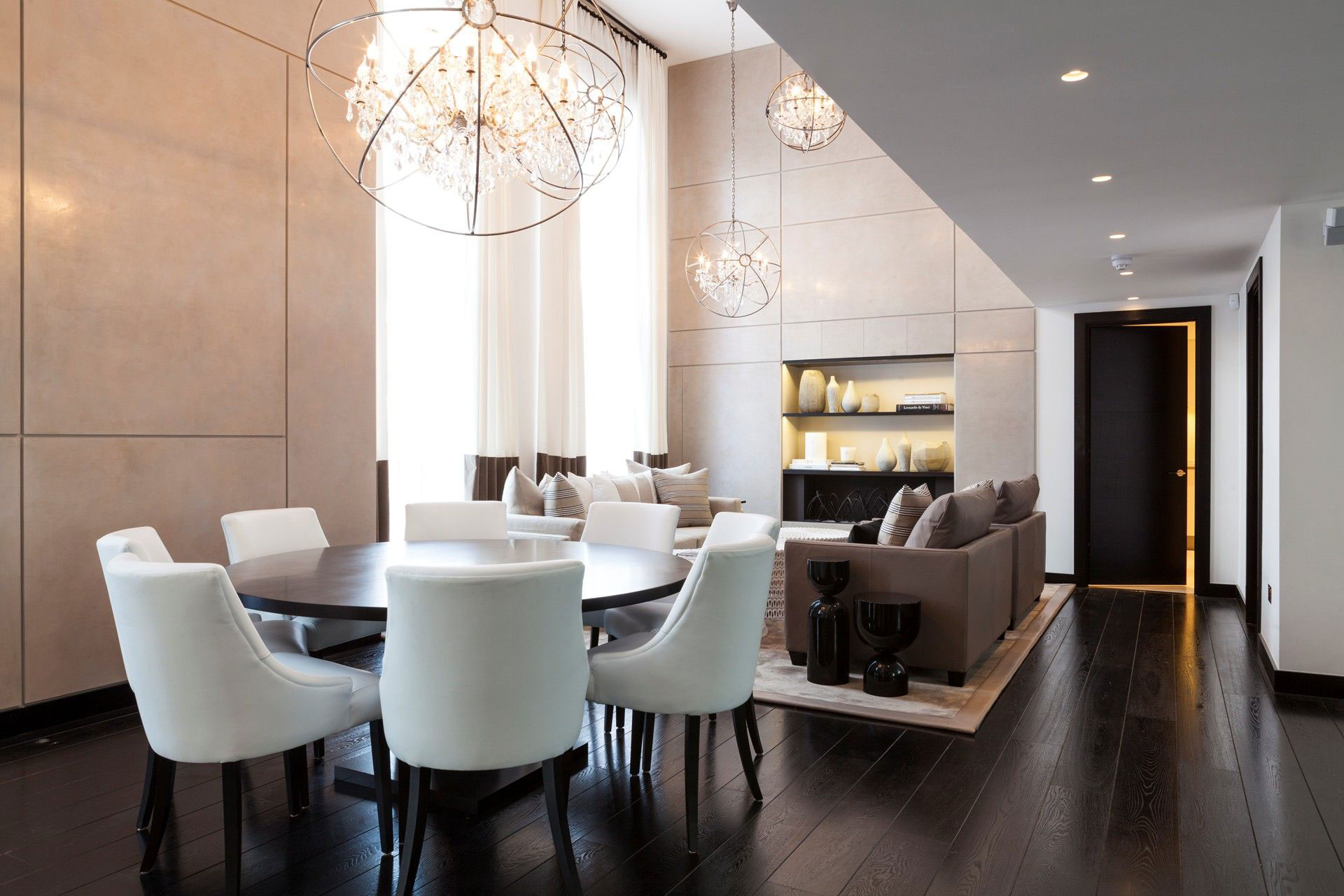 Dining Table, Dark Wood Flooring, Chandeliers, Henrietta Street Apartment