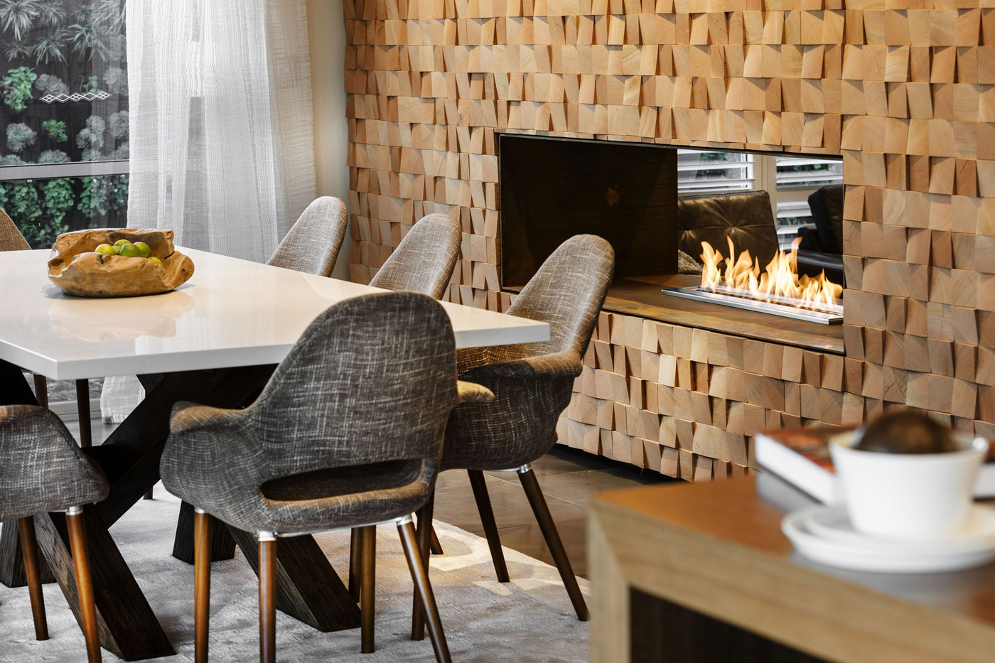 Dining, Table, Fireplace, Modern Home in Wandi, Perth