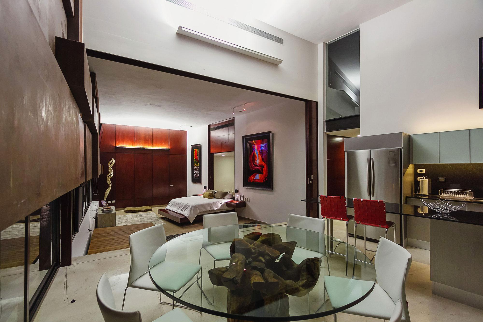 Dining Table, Kitchen, Bedroom, Lighting, Contemporary Residence in Merida, Yucatan