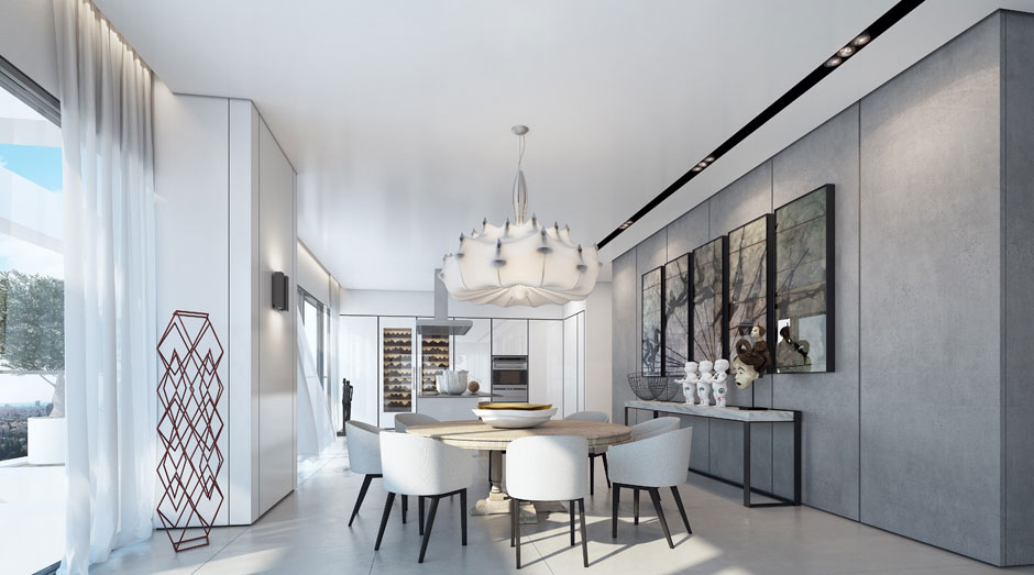 Dining Table, Lighting, Art, Apartment in the W Boutique Tower, Tel Aviv