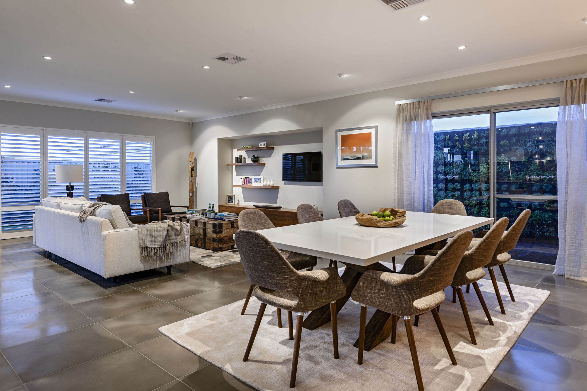Dining Table, Rug, Open Plan Living, Dining Space, Modern Home in Wandi, Perth