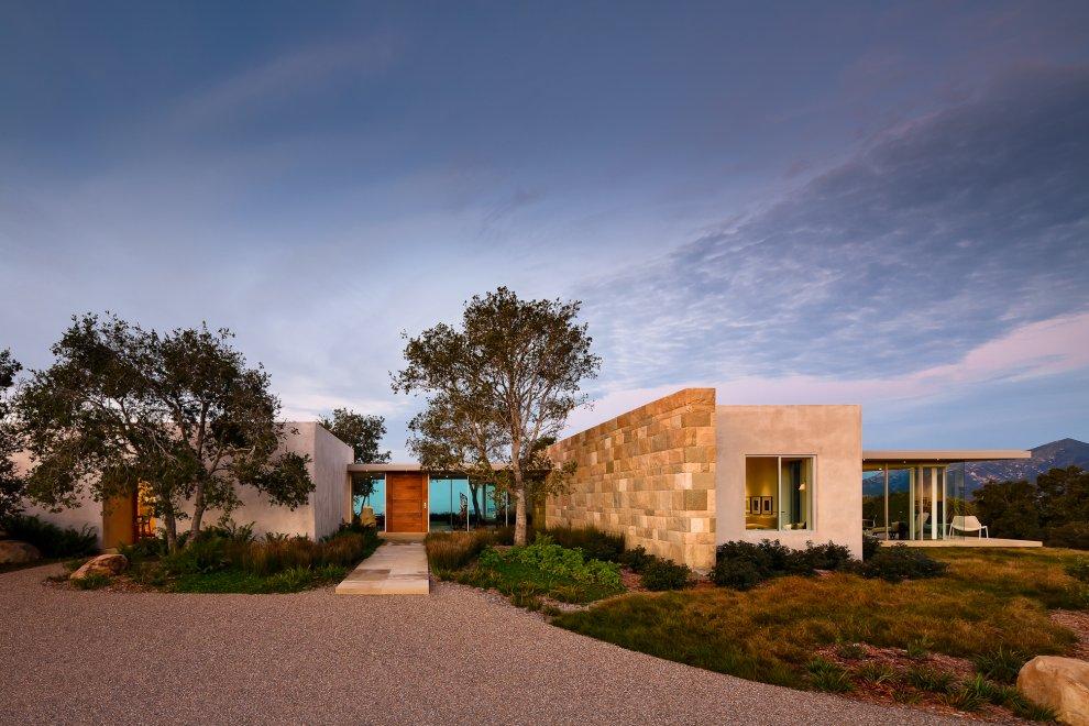 Entrance, Driveway, Hilltop Home in Carpinteria, California