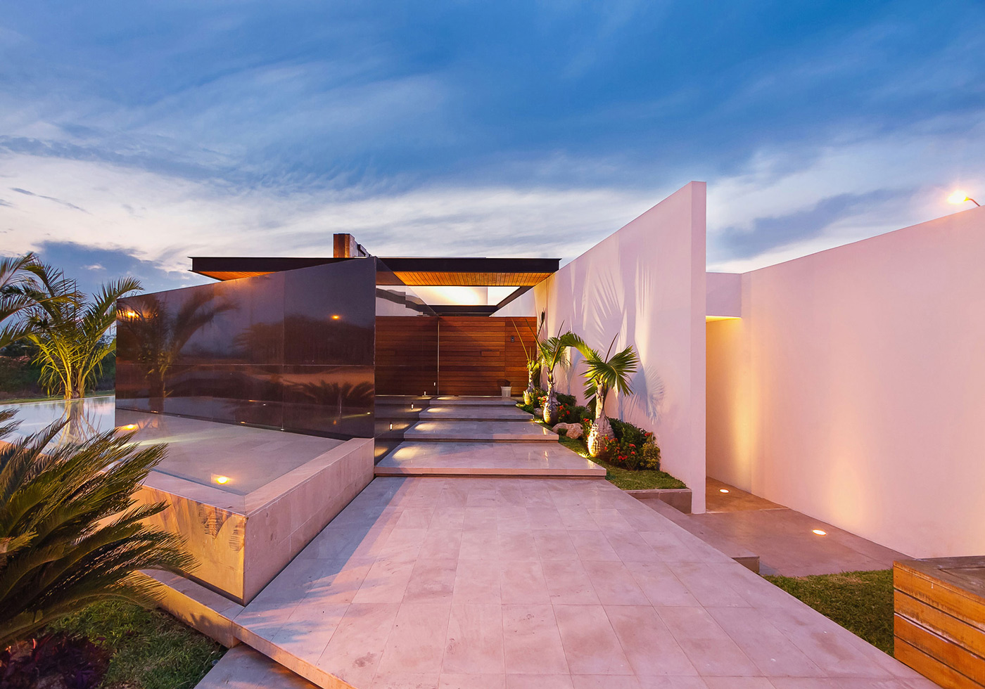 Entrance, Lighting, Marble Tiles, Contemporary Residence in Merida, Yucatan