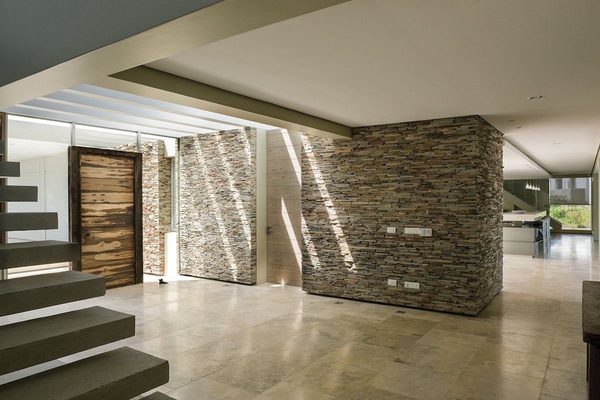 Entrance, Marble Tiles, Stone Wall, Cliff Top Home in Knyzna, South Africa