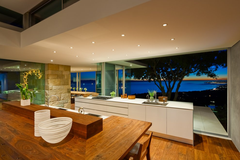 Evening, Kitchen Island, Breakfast Bar, Hilltop Home in Carpinteria, California