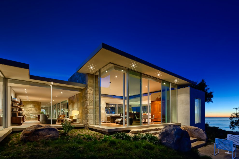 Evening, Lighting, Glass Walls, Hilltop Home in Carpinteria, California