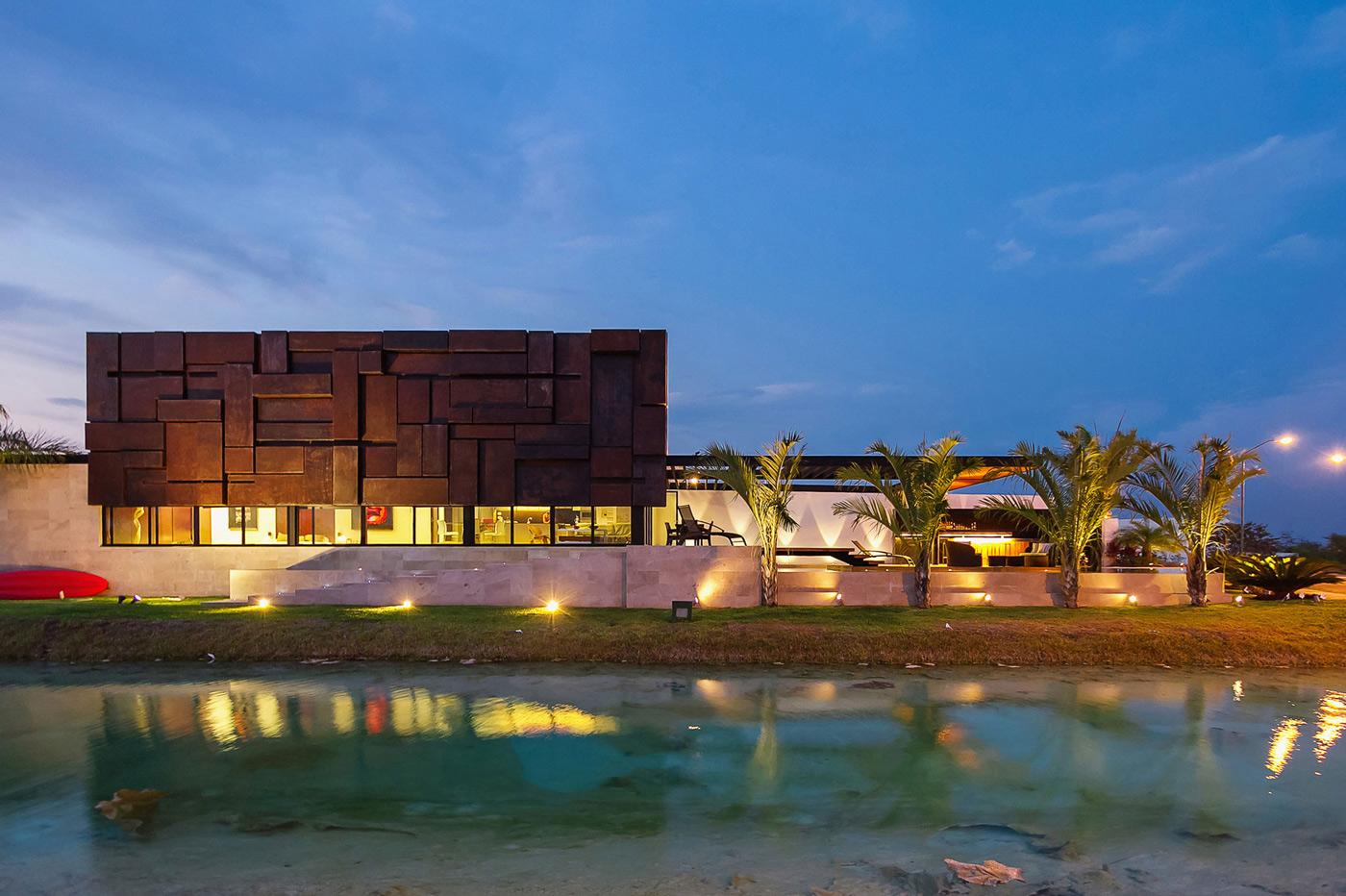 Evening, Lighting, River, Contemporary Residence in Merida, Yucatan