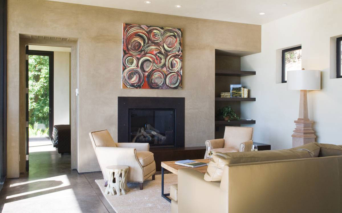 Fireplace, Art, Living Room, Furniture, Home in the Sonoma Valley, California